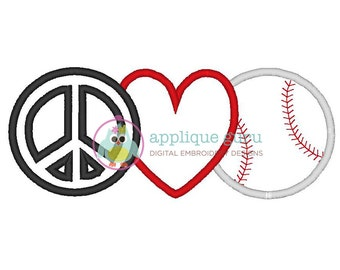 Peace Love and Baseball Applique -- Machine Embroidery Design