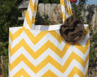 SMALL yellow and white CHEVRON stripe zigzag Handbag/ Diaper Bag/ Purse/ Tote/ Beach Bag with Removable Flower