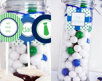Instant Download - Blue + Green Father's Day Party Printables