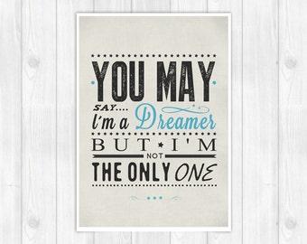 20% OFF!! John Lennon print - Imagine -  Music poster Music print Lyrics Print