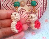 Amigurumi/Crochet Snail Earrings Orange kawaii cute beautiful strange colorful impressive