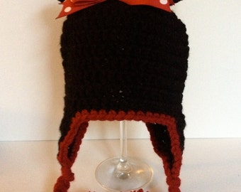 Crochet Baby Minnie Mouse Ear Flap Hat for Girls Ages 1-3