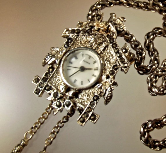 Watch Necklace or Brooch Vintage Lind 70s Cuckoo Clock With
