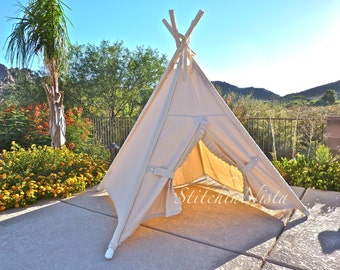 Natural Canvas TeePee (Made to Order) --- Fort Tent Indoor Outdoor Play Photo Prop Tee Pee Playhouse