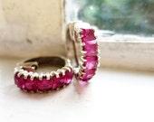 Vintage Silver Creolla Earrings with Dark Pink Stones