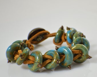 Suede leather bracelet tan leather cord with blue green ceramic beads mens or womens leather bracelet