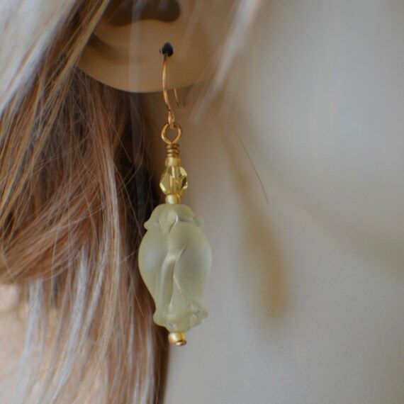 Green rosebud dangle earrings with gold filled french wires