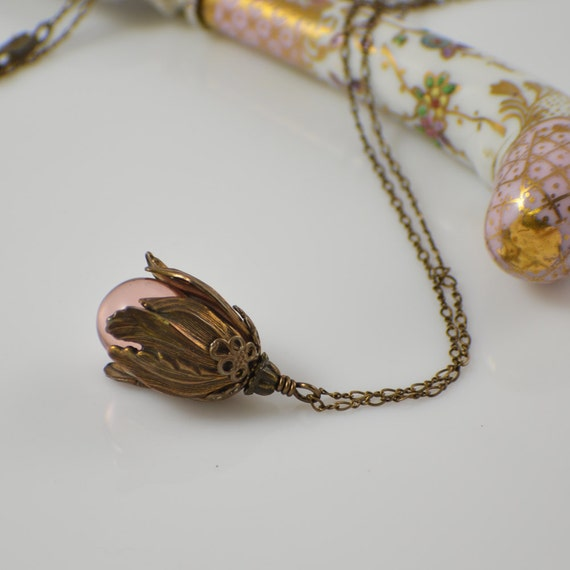 Rose pink glass teardrop necklace with antique brass tulip cap and chain