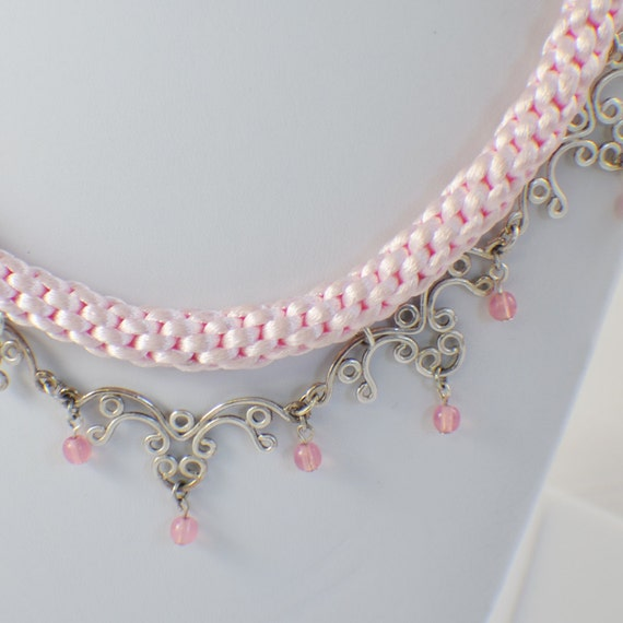 Kumihimo necklace braided pink satin and silver filigree bib necklace