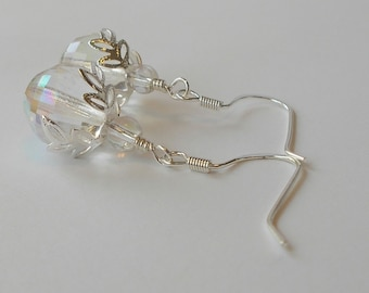 Czech Crystal Glass Bead With Silver Filigree Bead Cap Wedding Party Drop Earring