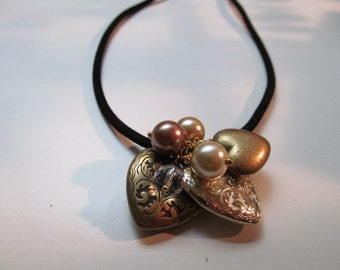 Velvet chord and charm necklace