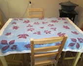 Vintage Tablecloth, Blue with Wine colored Leaves
