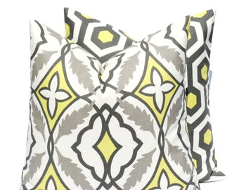 Throw Pillow Covers 20x20  Yellow Gray Pillow Bright Yellow Pillow  Cushion Decorator Pillow Covers Housewares Printed Fabric both sides