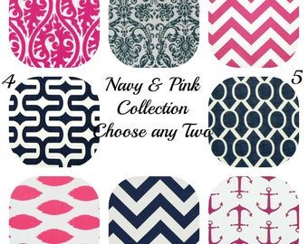 Decorative Throw Pillows Throw Pillow Covers 16x16 Set of TWO Navy Pillow Pink Pillow Chevron Pillow Throw Pillows Printed fabric both sides