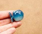 Blue Fish Brooch Plastic Pin Animal Figural pin