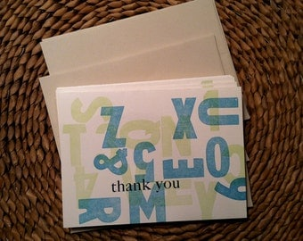 Thank You cards, letterpress printed
