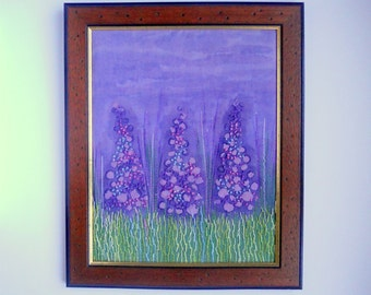 fibre art textile free embroidery  wall hanging fabric picture