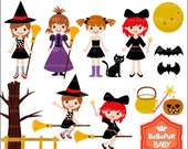 Buy 2 Get 2 Free ---- Halloween Witch Costume Girls ---- Personal and Small Commercial Use ---- BB 0455