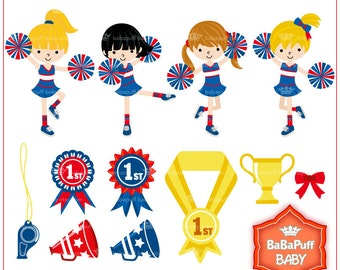 Buy 2 Get 2 Free ---- Cheerleading Girls Medal Clip Art Set 1---- Personal and Small Commercial Use ---- BB 0465