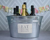 Personalized Wedding Gift - Large Champagne Tub - Eat Drink and Be Married in Silver