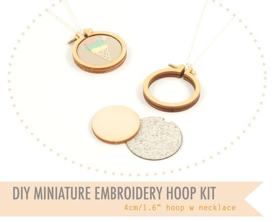 Diy miniature embroidery hoop with necklace cm by