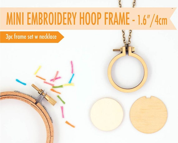 Diy miniature embroidery hoop with necklace cm
