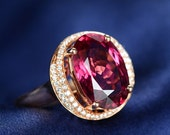 Engagement Ring -  5 Carat Red Tourmaline Engagement Ring With Diamonds In 14K Rose Gold