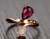 Engagement Ring -  1 Carat Red Tourmaline Engagement Ring With Diamonds In 14K Rose Gold