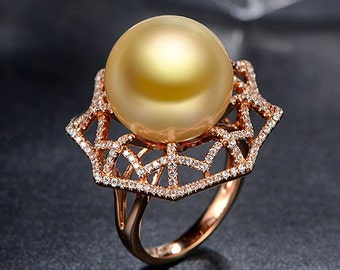 Engagement Ring -  13.5mm South Sea Golden Pearl Engagement Ring With Diamonds In 14K Rose Gold