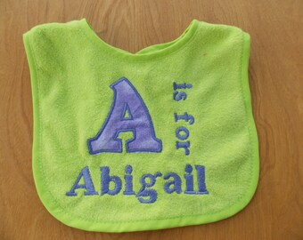 Personalized Baby Bib, Monogrammed Bib, Baby Shower Gift, 1st Birthday Gift, Toddler Gift, Great for Easter or Christmas Gifts too