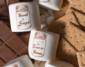 12 jumbo custom wedding marshmallows logo personalized grooms cake idea