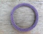 Sparkly Permanent Finished Galvanized Purple Bead Bracelet,Japanese Seed Beads,Nepal