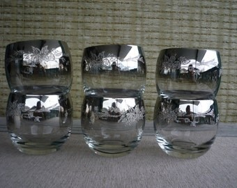 Vintage Embossed Floral Silver Ombre Roly Poly Glasses, Mid Century Barware, Set of 6