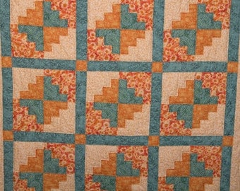 Wall or Lap Quilt in Orange and Blue