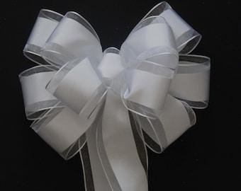 6 Traditional White Satin Wedding Bows Shabby Chic Pew Bows Church Aisle Bows Wedding Chairs Decoration Bows White Party Decoration Bows