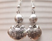 Asian Inspired Blessing Lock Silver Earrings with Silver Pearls