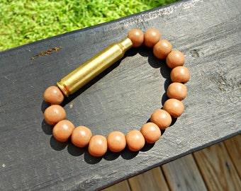 Tan Wood Ammo Bracelet