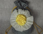 Flower girls bag drawstring money purse gray - green taffeta with flower ready to ship