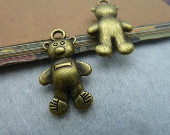 10PCS antique bronze 14x26mm bear charm pendant- W2210