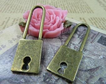 5PCS antique bronze 14x51mm lock charm pendant- WC1195