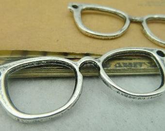 20PCS antique silver 19x52mm Glasses frame charm pendant- W3851