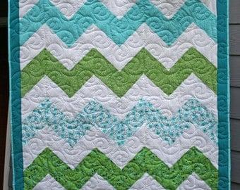 Blue & Green Prints Chevron Crib Quilt, Chevron Quilt, Crib Quilt, Blue Chevron Quilt, Boy's Quilt