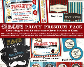 Circus Birthday Party Pack - Vintage Inspired / Retro Circus Carnival - Custom, Printable - Blackboard, Mustache - PREMIUM PACK
