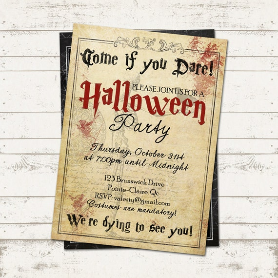 Halloween party invitation creepy vintage old paper for Vintage halloween party invitations