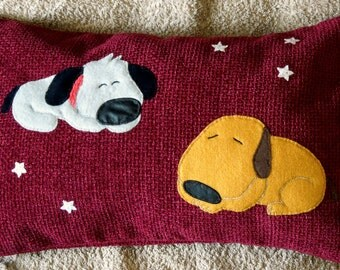 "Animal, pet applique nursery cushion/pillow cover ""Two Sleeping Dogs"", Handmade"