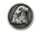 2 American Eagle 7/8 inch ( 23 mm ) Metal Buttons Antique Silver Color