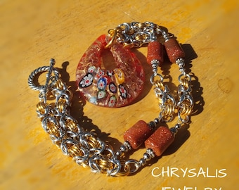 OOAK Goldstone and Fused Glass Focal Pendant Byzantine Chainmaille Necklace