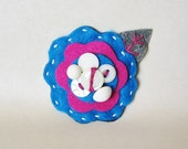 Felt Flower Pin Brooch for Women Jewelry Re-purposed Vintage Buttons Blue White Magenta