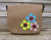 Flowers Messenger Bag Purse Satchel for Women Brown Aqua Pink Spring