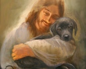Safe in His Everlasting Arms. Jesus with a black lab dog.